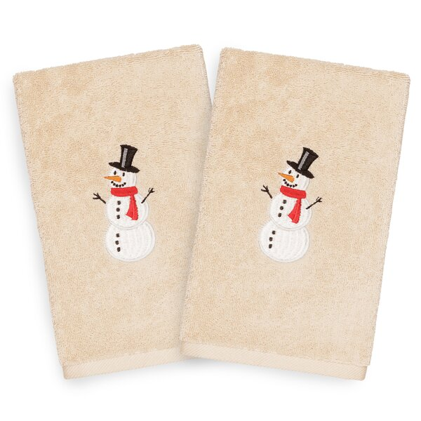 Bean Snowman Embroidered Luxury 100% Turkish Cotton Hand Towel (Set of 2) by The Holiday Aisle
